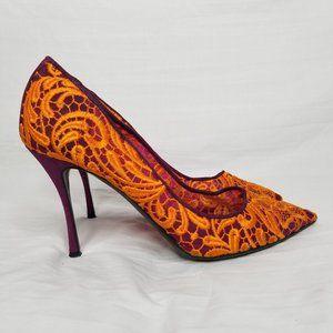 Nicholas Kirkwood Orange Embroidered Lace heels